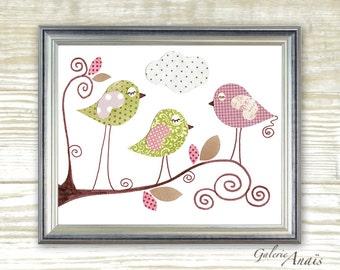 Art for Children nursery decor - baby nursery print - kids art - kids room decor - nursery wall art - Birds - Three Little Birds print