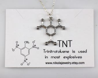TNT Silver Molecule Necklace, Chemistry Jewelry, TriNitroToluene Necklace, Dynamite Jewelry, Sterling Silver Dynamite Neckace