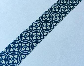 10m - Dark Teal Blue Geometric Shape Flower - Washi Tape - Japanese Tape - Smash Book Scrapbooking Supplies