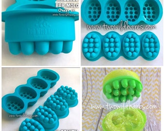 1 MASSAGE BAR Silicone Soap Mold, 4-4.5 oz Cavities, Professional Grade Mold, Two Wild Hares