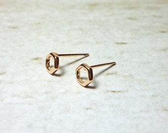 Rose Gold Hexagon Stud Earrings, Dainty Earrings