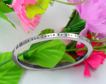 Silver Bangle, Personalized Bangle, Personalised Bangle, Custom Bangle, Personalised She Believed She Could Bangle Silver ONLY 39