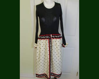 Vintage 1970s Designer Vera Maxwell Speedsuit Dress