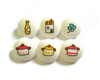 6 Small Fabric Buttons Set - Kawaii Kitchen - Fabric Sewing Buttons