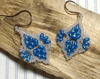 SuperDuo Earrings Beadwoven Earrings Blue White Earrings Beadwork Earrings Blue Bead Earrings Beaded Earrings Blue Drop Earrings