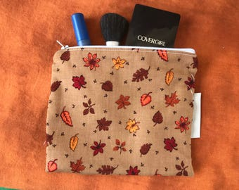"Fall leaves! Make Up bag- handmade - zipper  lined- 6""X 7"""