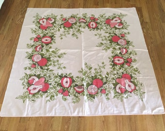 """Vintage PINK TABLECLOTH 48"""" X 50"""", Pink GRAPEFRUIT, Pears, Apples and Strawberries at A Vintage Revolution"""