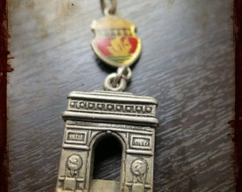 Vintage Paris Arc of Triumph French Silver Medal - Champs Elysees Miniature 3D Jewelry pendant from France