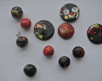 set of 10 pieces of polymer clay