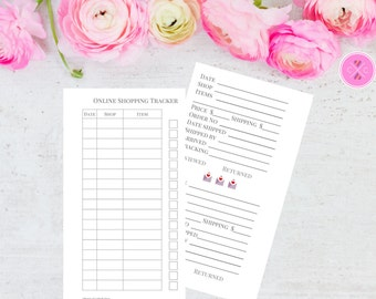Personal size Printable Online Shopping Tracker Insert - Medium Kikki K and Personal Filofax Planners - Instant Downloadable Planner Insert