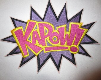 Extra Large Embroidered Super Hero Patch Kapow, Super Hero, Embroidered Applique, Embroidered Patch