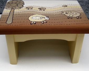 personalized sheep step stool in browns and creams,bench,personalized stool,baby room decor,stepstool,brown and cream room decor,sheep stool