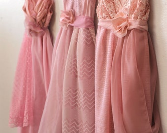 Custom Blush Pink Bridesmaids Dresses