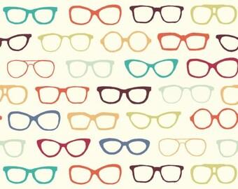 Glasses - Cream - Summer '62 - Jay Cyn for Birch Fabrics -  Organic Poplin Cotton Fabric - Pond - Fabric By the Half Yard