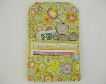 Small Wallet, Mini Wallet, Small Yellow Wallet, Pocket Wallet. Credit Card Wallet, Coin Purse, Fabric wallet, Gift Under 20, Small Purse