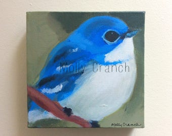 Original Acrylic Painting on Canvas, Cerulean Warbler