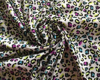 Leopard Print on Polyester Spandex - 4 Way Stretch or poly/ Lycra / sold by the yard