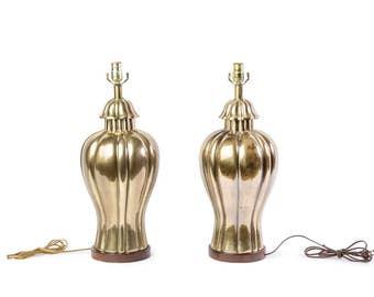 Elegant Pair of 1970's Vintage Frederick Cooper Brass Jar Lamps