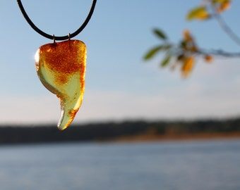 Amber Pendant Necklace Baltic Amber Charm Raw Natural Leather Eco Friendly Necklace Honey Yellow Handmade Jewelry Man Unisex