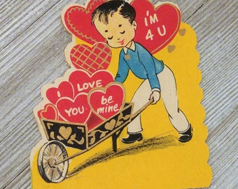 Boy Pushing Wheelbarrow Vintage 1950's Valentine's Day Card