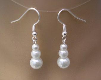 Graduated Pearl Earrings, Three Pearl Earrings, Silver Earrings, Gold Earrings, Rose Gold Earrings, Coloured Pearl Earrings, 45HSGRGP