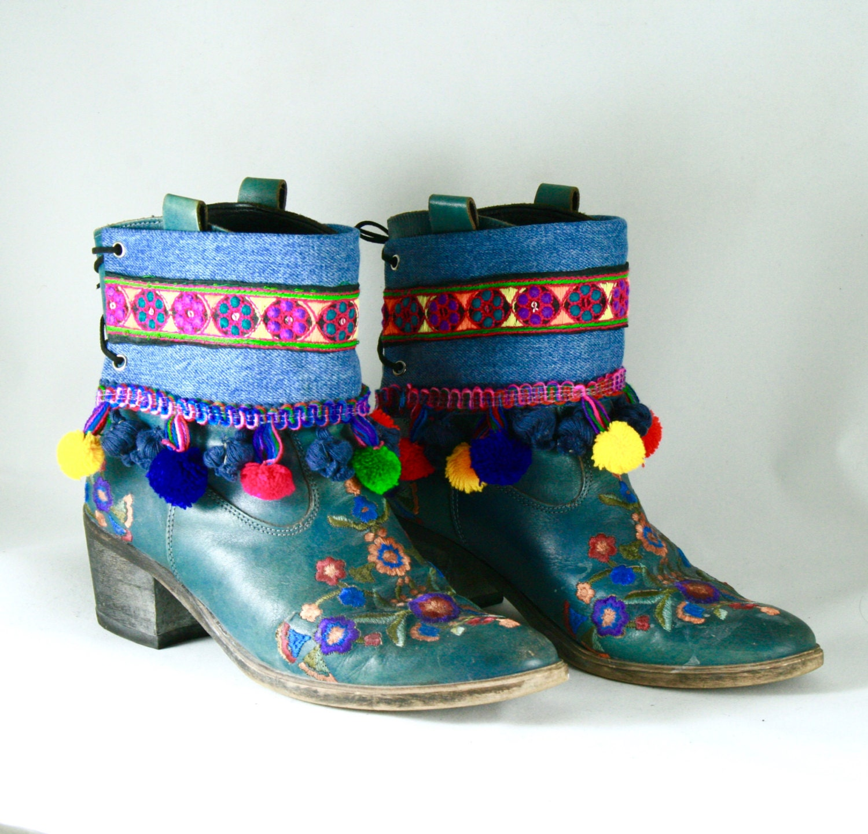 Couvrant les bottes bottes / accessoires bottes / bottes bottes Texan sandales franges Ibiza Hippie Chic Hippy Boho Chic Tribal Hipster ethniques Gypsy band de décorer 4cac73