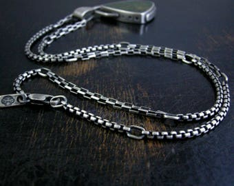 50/50 round box and long box custom sterling chain soldered jump rings and lobster claw clasp antique rustic patina