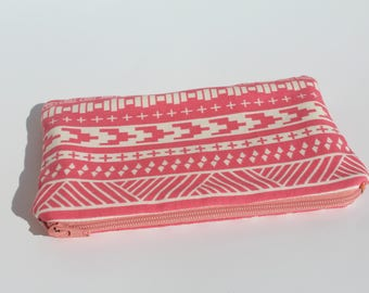 Pink Western Zipper Pouch Lined with Desert Sunset Fabric