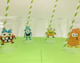 Monster Party Supplies: Monster Plastic Cups with Straws, Monster Cups, Monster Party