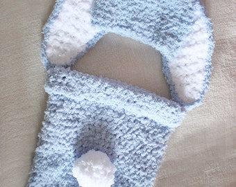 0 to 3m Baby Boy Cocoon Set Bunny Hat Baby Shower Gift Newborn Photo Prop Cocoon Set, Blue Bunny Baby Hat Cocoon Baby Set Halloween Costume
