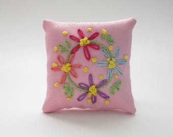 Pink Floral Pillow Pincushion, Hand Embroidered Pin Pillow