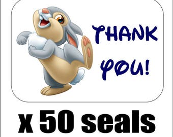 "50 Thumper Thank You Envelope Seals / Labels / Stickers, 1"" by 1.5"""