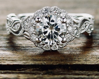 Forever Classic Moissanite Engagement Ring in 14K White Gold with Diamonds in Flower Buds and Leafs on Vine Motif Size 7