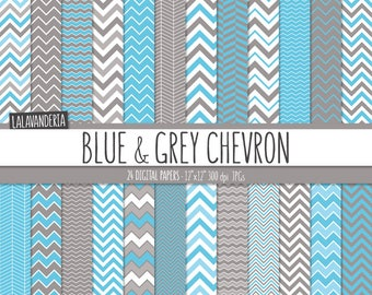 Chevron Digital Paper Package with Blue and Grey Backgrounds. Printable Papers - Blue and Gray Chevron Patterns. Digital Scrapbook