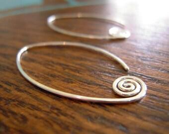 Large fiddlehead earrings, lightweight sterling silver earrings, minimalist silver earrings, spiral earrings.