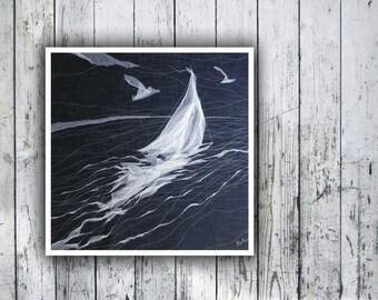 Fordewind - Textile Art, Nautical Art, Nautical Chic, Fine Art, Contemporary Art. Modern interior, wall hanging