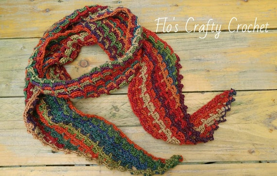 Handmade Crochet Tapered Edge Scarf Pattern Suitable For