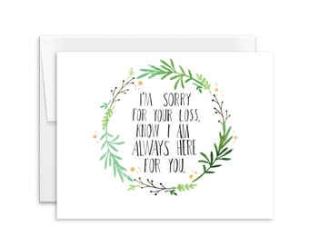 Sympathy Card - I'm So Sorry For Your Loss Card - Greeting Card - 160208