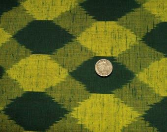 "Vintage Japanese wool kimono fabric 36"" x 14"" (92 cm x 36 cm) green woven abstract"