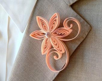 Peach Wedding, Peach Boutonniere, Country Wedding