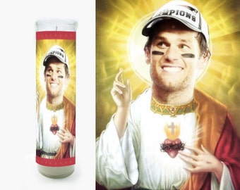 Tom Brady Prayer Candle - Tom Brady Saint Candle - Super Bowl - Fan Art