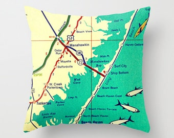 Custom New Jersey Map Pillow Cover, New Jersey Gifts, Long Beach Island, Jersey Girl Gift, Cape May, NJ New Home Gift, New Jersey Shore Aqua