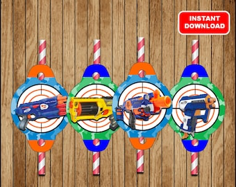 Nerf Straw Toppers, Printable Nerf Straw Tags , Nerf party Straw tags Instant download