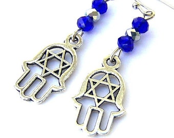Hamsa with Star of David earrings, Jewish star, Hanukkah gift, Judaica jewelry, cobalt blue and silver, Bat Mitzvah present, amulet, hand
