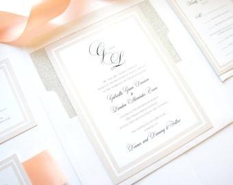Elegant Wedding Invitation, Timeless Wedding Invitations, Traditional Wedding Invitation, Monogram, Peach - SAMPLE SET