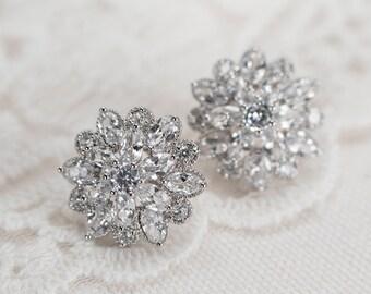 Bridal Earrings, Cubic Zirconia Stud Bridal Earrings, Cubic Zirconia Stud Earrings, Bridal Cubic Zirconia Stud Earrings,CZ Bridal Jewelry