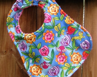 Handmade Baby Bib - Happy Flowers Baby Bib - Flower Bib for Baby Girl - Drool Bib - Shower Gift for Baby Girl - Handmade Bib