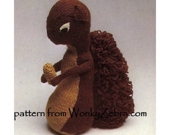 Vintage PDF Pattern Knit Squirrel 467 from ToyPatternLand by WonkyZebra