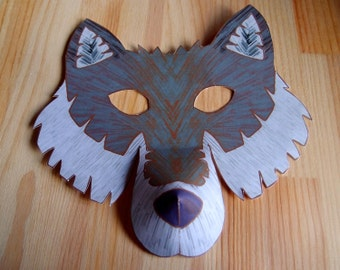 Wolf Mask - Printable Craft Kit - Kid's Craft Activity - DIY costume