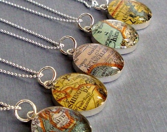 Atlas  Necklace Vintage Maps Sterling Silver Your City  Choice for Mom or Grandmom  Personalized Custom  Free USA Shipping